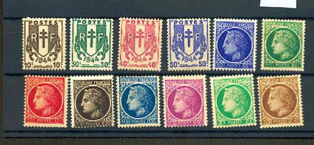 France 670 à 681 cérès et chaines (1944) neufs ** TB MNH SIN CHARNELA cote 2