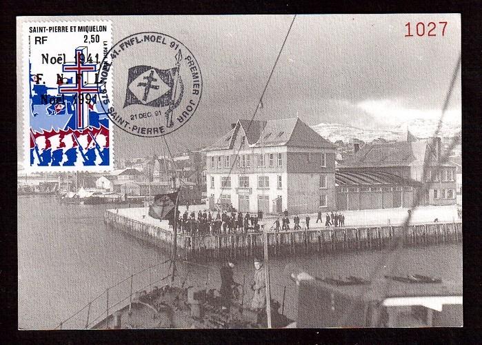Saint Pierre et Miquelon Premier Jour FDC 1991 Y&T 554 o FNFL - Noel - croix lorraine - navires