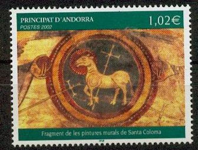 Andorre 574 2002 peinture murale neuf ** luxe MNH SIN CHARNELA prix de la poste 1.02