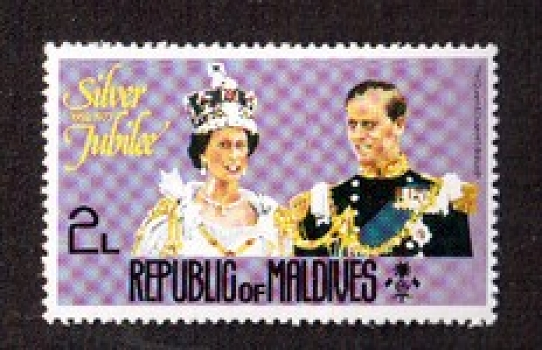 Maldives 1977 Y&T 625 ** Silver Jubile the queen and duke of Edinburg