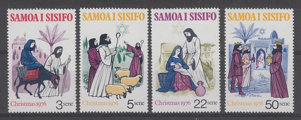 SERIE NEUVE DE SAMOA - NOËL 1976 : SCENES DE LA NATIVITE N° Y&T 380 A 383
