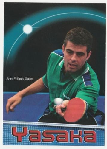 cpm Publicitaire pour Jean-Philippe Gatien tennis de table