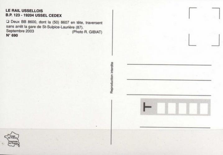 RU 0690 - Loco BB 8607 en gare - SAINT-SULPICE LAURIERE - 87 - SNCF