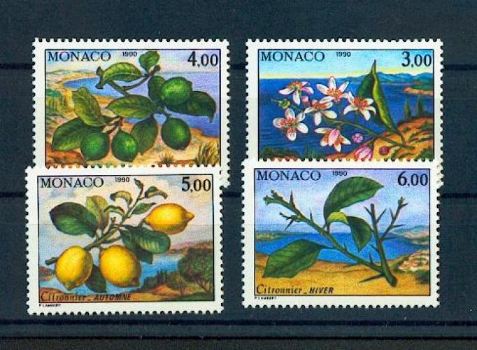 Monaco 1749 1752 1990  flore citronnier du BF 51 neuf ** TB MNH Sin charnela  faciale 2.75