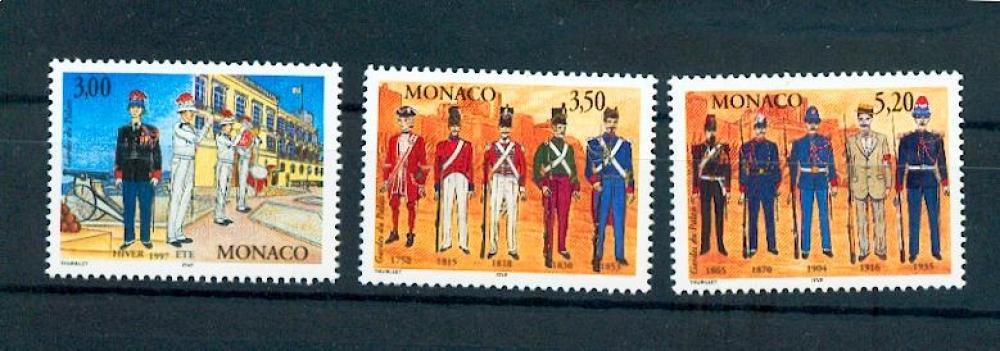 Monaco 2107 2109 1997 Uniformes de carabiniers neuf ** luxe MNH faciale 1.78