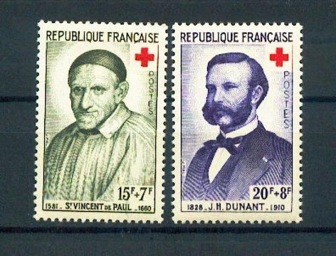 France 1187 1188 1958 1/4 de cote Croix Rouge Dunant ST Vincent de Paul neuf ** TB MNH cote 3.2