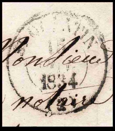 Dept 82 (Tarn et Garonne) MONTAUBAN 1834 > Type 13 + Taxe manuel 2 décimes + Dos type 11 GUISE