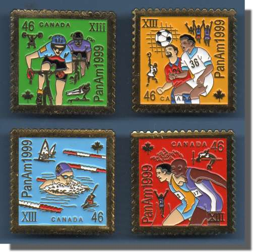 COMPLETE SET PIN'S CANADA PANAM 1999 TIMBRES STAMPS