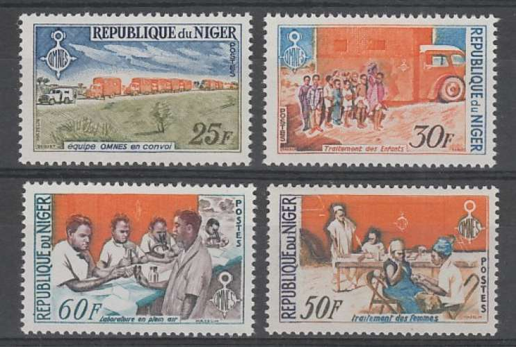 SERIE NEUVE DU NIGER - ORGANISATION NIGERIENNE MEDICALE D´EDUCATION SANITAIRE N° Y&T 145 A 148
