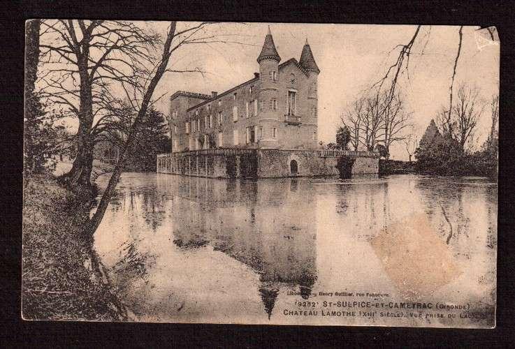 France CPA St Sulpice et Cameyrac Gironde château Lamothe XIIIe siècle vue prise du lac