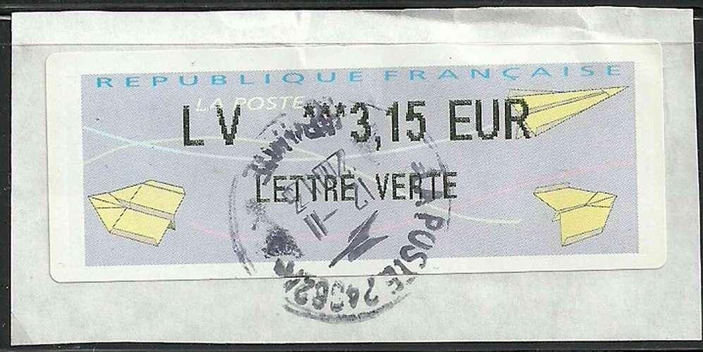lettre verte timbre France   Timbre Vignette de distributeur Lisa 2   Type AA Avoins  lettre verte timbre