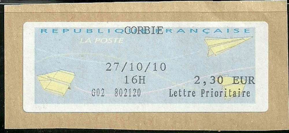 lettre verte timbre France   Timbre Vignette de guichet   Type AA Avoins papier  lettre verte timbre