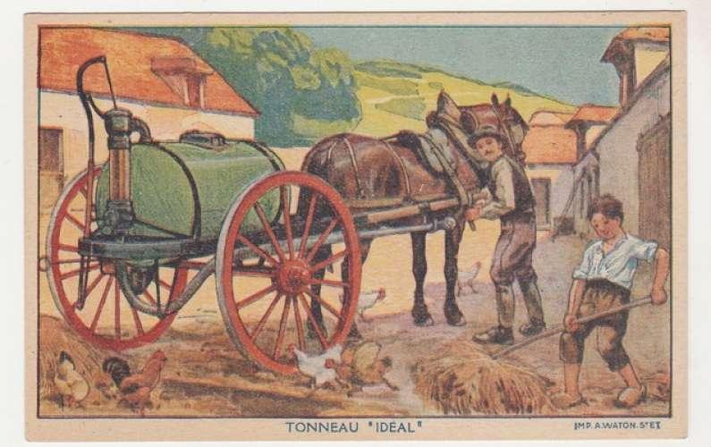 cpa Publicité Tonneau Idéal ... ferme , attelage  cheval