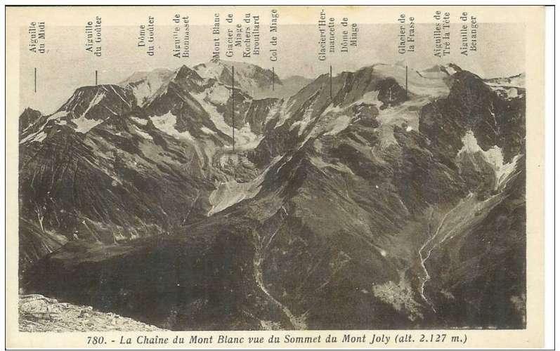 Cpa 74 Chamonix , la chaine du mont blanc vue du sommet du mont joly , vierge