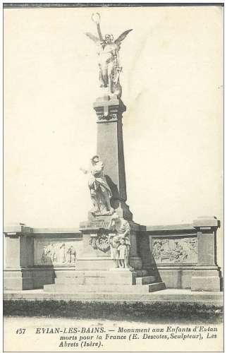 Cpa 74 Evian les bains , le monument aux enfants morts pour la patrie , vierge