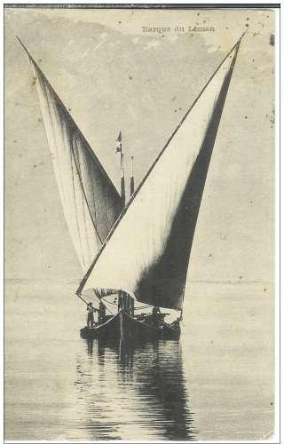 Cpa 74 Evian les bains , barque du léman , voyagée 1905