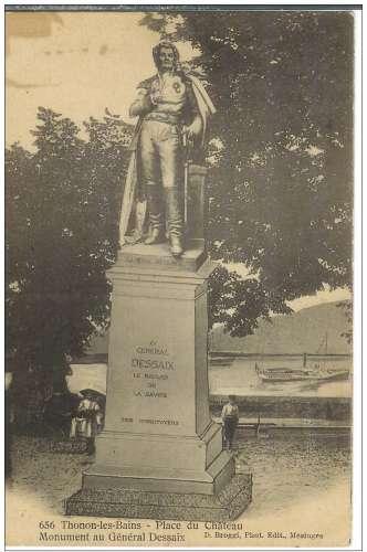 Cpa 74 Thonon les bains , monument au général desaix , cachet convoyeur 1915 Evian à Bellegarde
