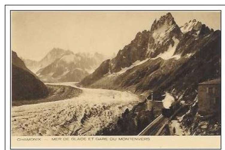 Cpa 74 Chamonix , mer de glace et gare de Montenvers , vierge