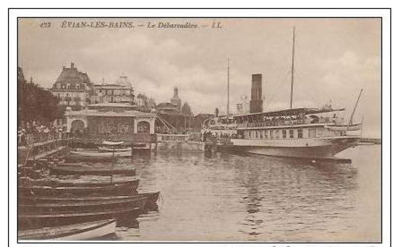 Cpa 74 Evian les bains , le débarcadère et le bateau , vierge