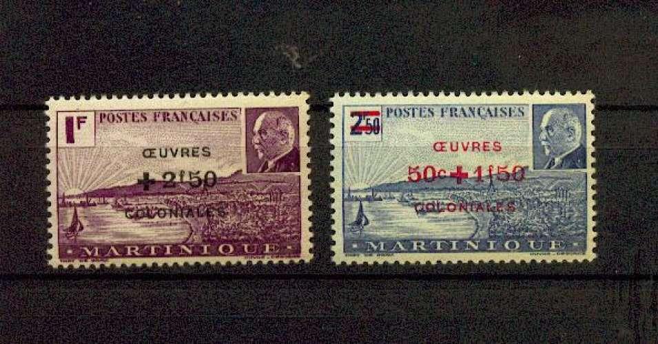 Martinique 196 197 Pétain surchargé 1944 neuf ** TB MNH sin charnela cote 1.95