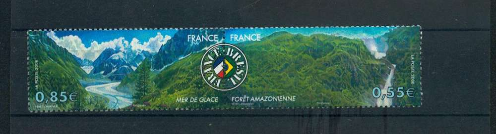 France 4255 4256 2008 France Brésil se tenant neufs **TB MNH prix de la poste 1.4