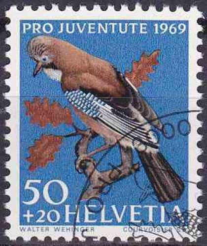 Suisse 1969 oblitéré n° 849 oiseaux
