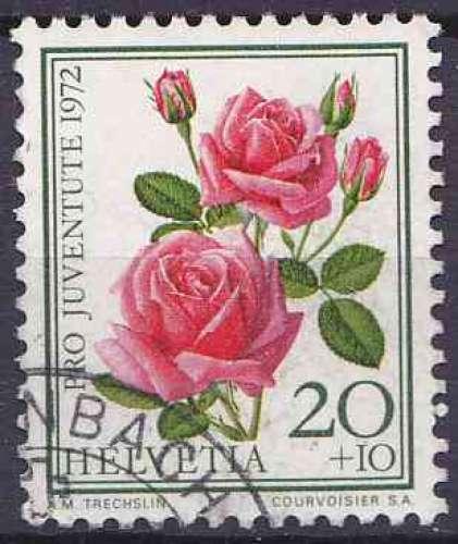 Suisse 1972 oblitéré n° 915 fleurs