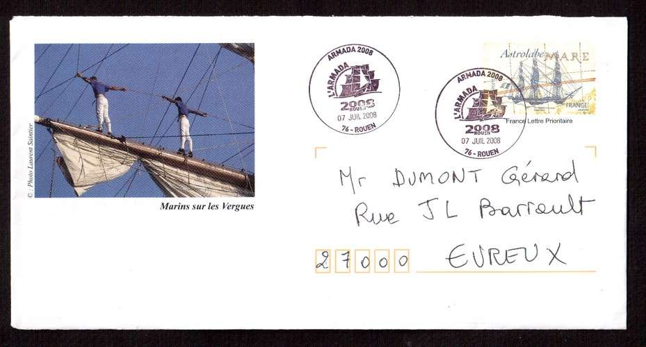 France  PAP 2008 Astrolabe marins sur les vergues - cachets Armada 2008 Rouen