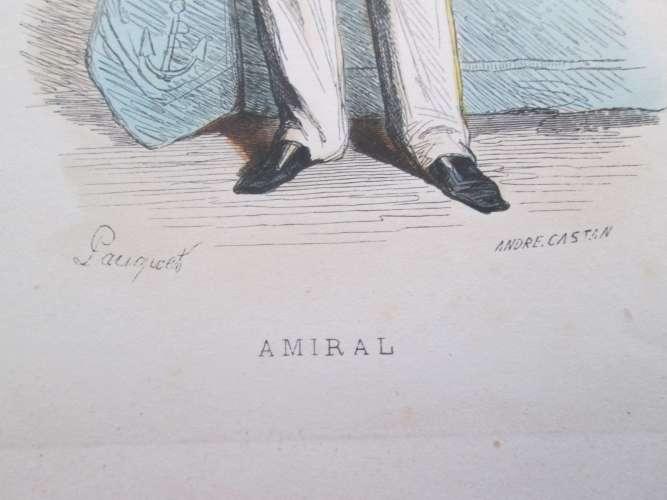 Gravure fin 19e siècle représentant un ENSEIGNE DE VAISSEAU de la Marine Française, peut être d'époq