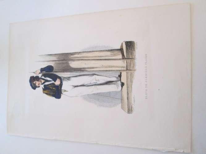 Gravure fin 19e siècle représentant un ELEVE DE PREMIERE CLASSE de la Marine Française, peut être d'