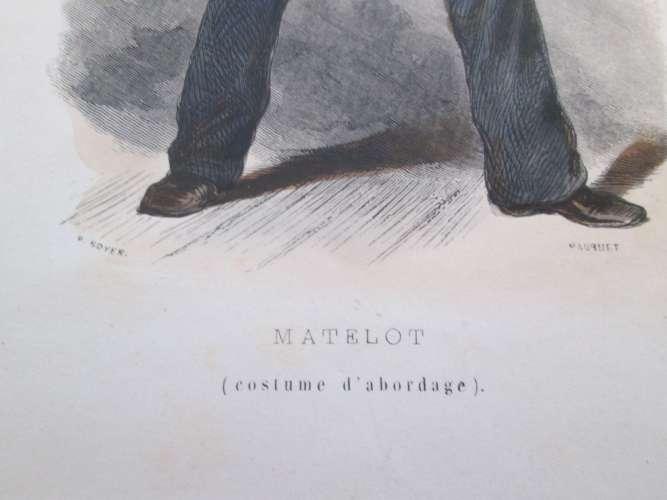Gravure fin 19e siècle représentant un MATELOT EN COSTUME D'ABORDAGE de la Marine Française, peut êt