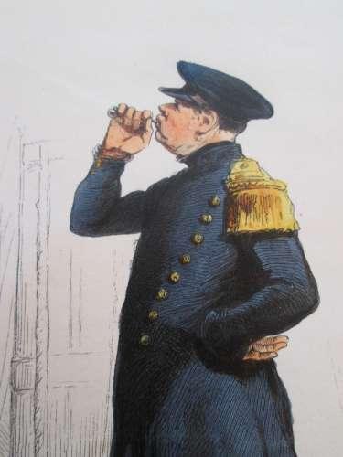 Gravure fin 19e siècle représentant un PREMIER MAITRE EN COSTUME D'ABORDAGE de la Marine Française,