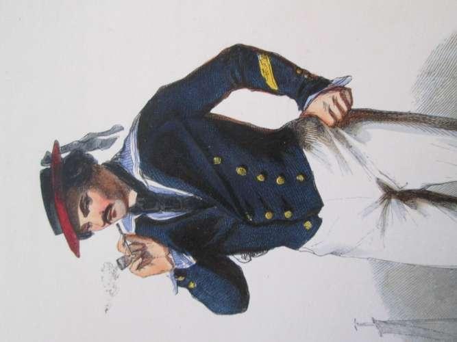 Gravure fin 19e siècle représentant un SECOND MAITRE EN COSTUME D'ABORDAGE de la Marine Française, p