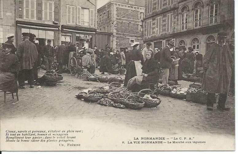 CPA - La Vie Normande - Normandie - Marché aux légumes - Dos scanné
