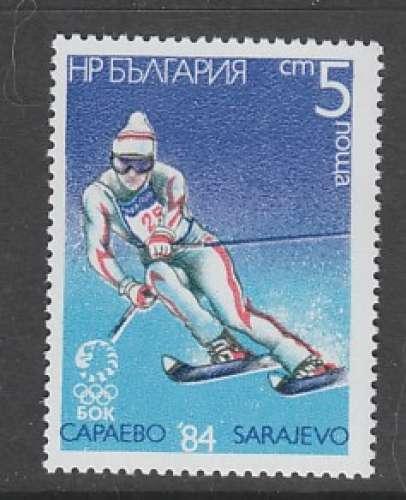 TIMBRE NEUF DE BULGARIE - SLALOM (J. O. DE SARAJEVO) N° Y&T 2826