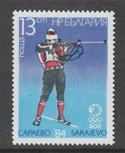 TIMBRE NEUF DE BULGARIE - BIATHLON (J. O. DE SARAJEVO) N° Y&T 2827