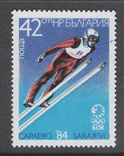 TIMBRE NEUF DE BULGARIE - SAUT A SKIS (J. O. DE SARAJEVO) N° Y&T 2829