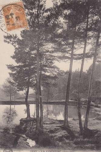 cpa:  la louvesc - paysage a l'étang de grange neuve _ dos vert-éditeur: Marge Brémond - recto/verso