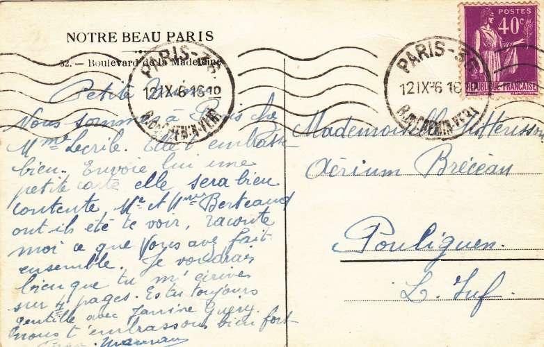 cpa: paris -boulevard de la madeleine - éditeur: inc. - recto/verso