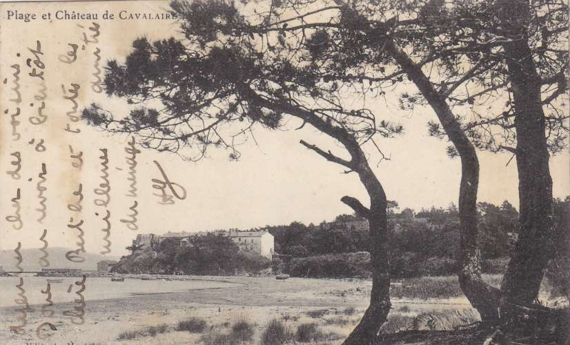 cachets  convoyeurs de lignes T3 sur cpa:plage & chateau de cavalaire- recto/verso