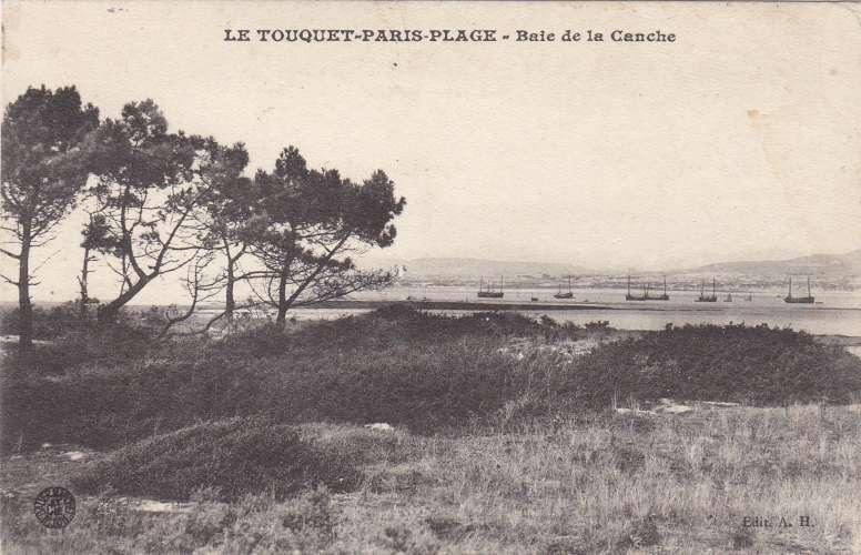timbre semeuse138 neuf sur cpa: le touquet paris plage- baie de la canche recto/verso