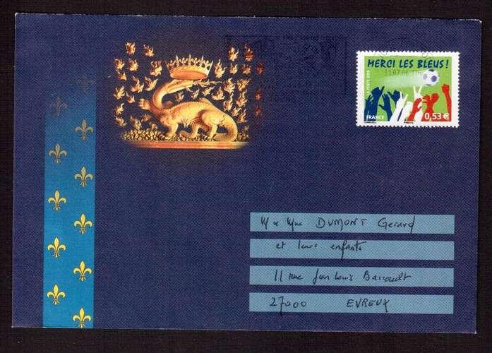 France 2006 Y&T 3936 (o) merci les Bleus 0,53€ sur lettre