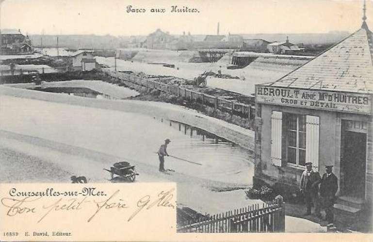 cpa 14 Courseulles sur mer , parc aux huitres , voyagée 1903 cachet convoyeur courseulles à caen