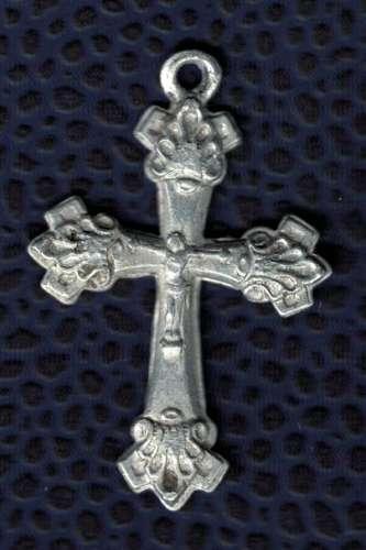 Crucifix en métal léger avec motif religieux