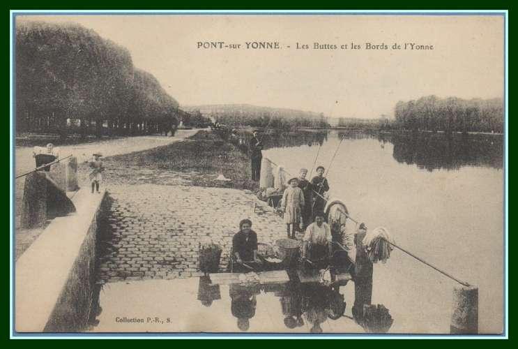 CPA PONT SUR YONNE  les Buttes lavandières, pêche voy FM Service G.V.C. Sens scan verso