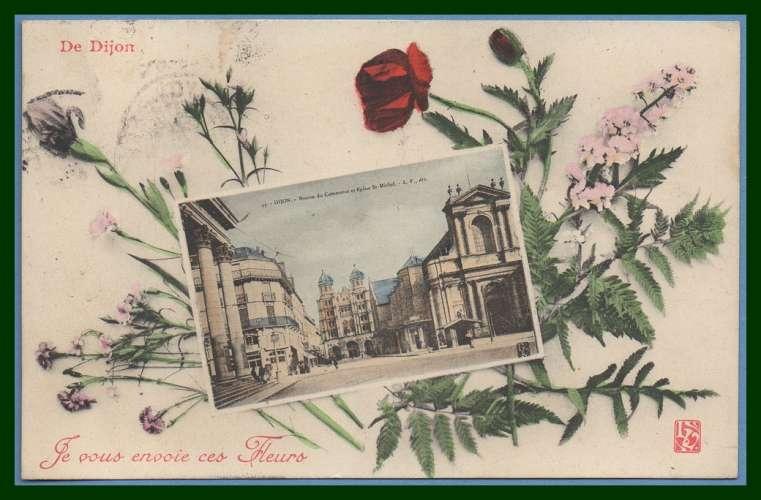 CPA de DIJON je vous envoie ces fleurs voy 1907 coquelicot