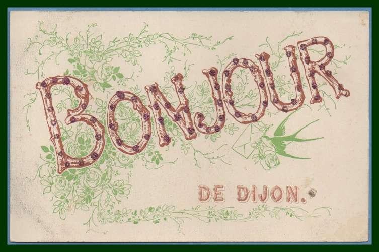 CPA Un Bonjour de DIJON  écrite  carte paillette