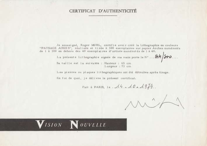 LITHOGRAPHIE ORIGINALE DE ROGER MUHL :