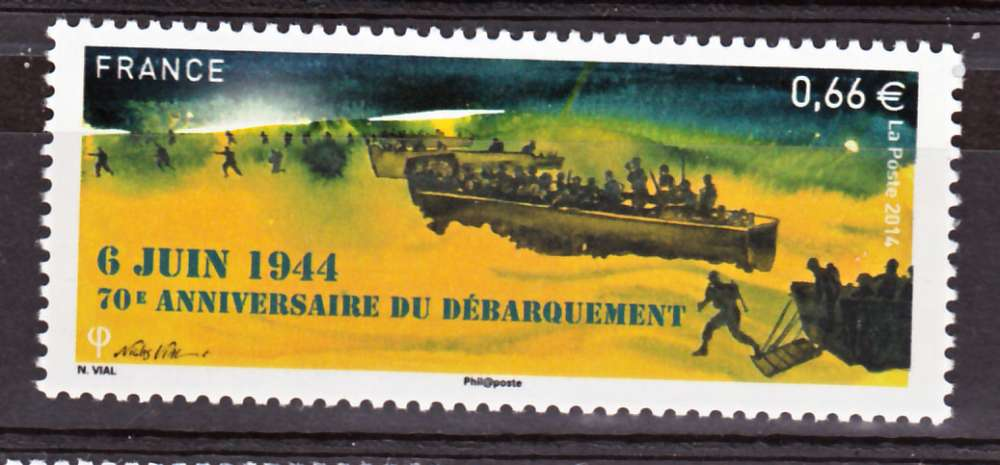 France 4863 2014 débarquement neuf TB ** MNH sin charnela prix de la poste 0.66