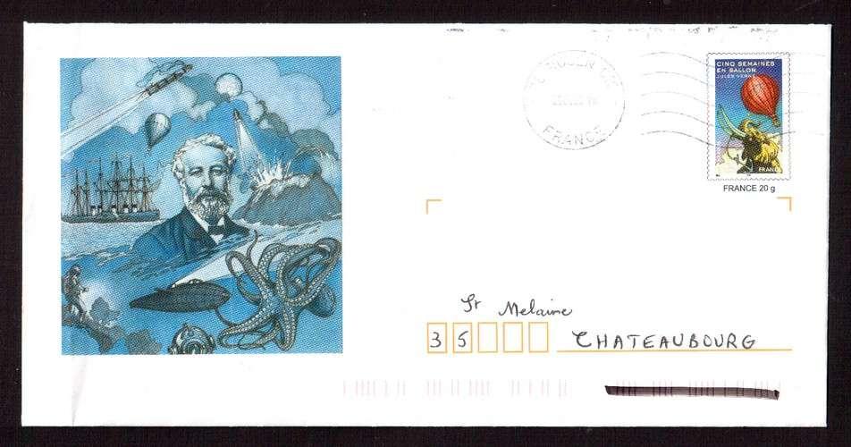 France 2005 PAP Y&T 3789-E1 cinq semaines en ballon Jules Verne cachets Rouen et Rennes, circulé